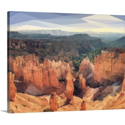 Large Gallery-Wrapped Canvas Wall Art Print 20 x 16 entitled Bryce Canyon - Low-Poly Art