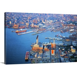 Large Gallery-Wrapped Canvas Wall Art Print 30 x 20 entitled Aerial view of Brooklyn Navy Yard in New York City