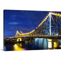 Large Gallery-Wrapped Canvas Wall Art Print 24 x 16 entitled Brisbane's Story Bridge by night, Queensland, Australia found on Bargain Bro India from Great Big Canvas - Dynamic for $214.99