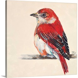 Large Solid-Faced Canvas Print Wall Art Print 20 x 20 entitled Baby Red Bird II