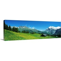 Large Gallery-Wrapped Canvas Wall Art Print 36 x 12 entitled Grindelwald Switzerland