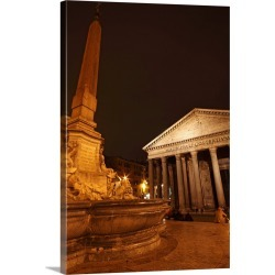 Large Solid-Faced Canvas Print Wall Art Print 20 x 30 entitled Night Lights Of The Pantheon In Piazza Della Rotunda; Rome ...