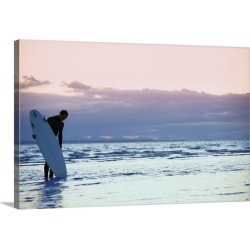Large Solid-Faced Canvas Print Wall Art Print 30 x 20 entitled Surfer In The Shallow Water