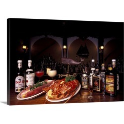 Large Solid-Faced Canvas Print Wall Art Print 30 x 20 entitled Traditional food in Puerto Rico, lobster, fish, and rum