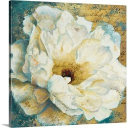 Large Solid-Faced Canvas Print Wall Art Print 20 x 20 entitled Zuzu Peony Gold I