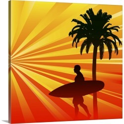 Large Solid-Faced Canvas Print Wall Art Print 20 x 20 entitled Tropical Surfer