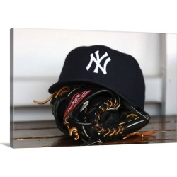 Large Solid-Faced Canvas Print Wall Art Print 30 x 20 entitled New York Yankees hat and glove in the dugout found on Bargain Bro Philippines from Great Big Canvas - Dynamic for $204.99