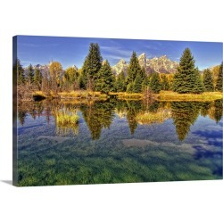 Large Gallery-Wrapped Canvas Wall Art Print 24 x 16 entitled Reflection of trees and landscape, Grand Teton National Park,...