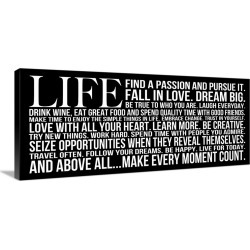 Large Gallery-Wrapped Canvas Wall Art Print 30 x 13 entitled Life Find a Passion on black found on Bargain Bro India from Great Big Canvas - Dynamic for $239.99