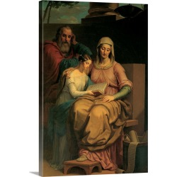 Large Solid-Faced Canvas Print Wall Art Print 20 x 30 entitled Holy Virgin Mary with St. Anne and St. Joachim, by Pietro, ...