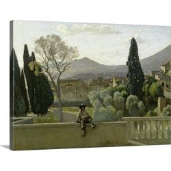 Large Solid-Faced Canvas Print Wall Art Print 40 x 30 entitled The Gardens of the Villa d'Este, Tivoli, 1843