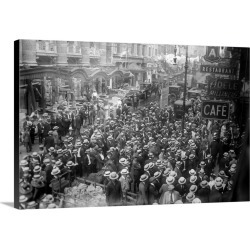 Large Solid-Faced Canvas Print Wall Art Print 30 x 20 entitled Actors on strike on 45th Street in New York City, 1919