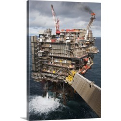 Large Solid-Faced Canvas Print Wall Art Print 20 x 30 entitled North Sea oil and gas platform