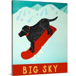 Large Solid-Faced Canvas Print Wall Art Print 24 x 30 entitled Big Sky Snowboard Black