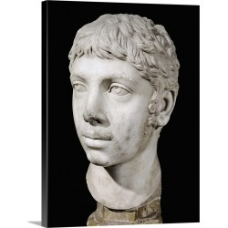 Large Solid-Faced Canvas Print Wall Art Print 18 x 24 entitled Bust of Heliogabalus. 3rd c. Roman art. Late Empire
