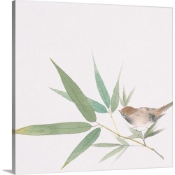 Large Solid-Faced Canvas Print Wall Art Print 20 x 20 entitled A sparrow and bamboo leaves