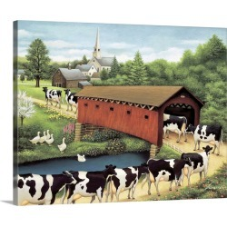 Large Gallery-Wrapped Canvas Wall Art Print 20 x 16 entitled Cows in West Arlington