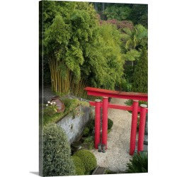Large Gallery-Wrapped Canvas Wall Art Print 16 x 24 entitled Colourful ornate structure, Japanese Garden, Maderia found on Bargain Bro India from Great Big Canvas - Dynamic for $214.99