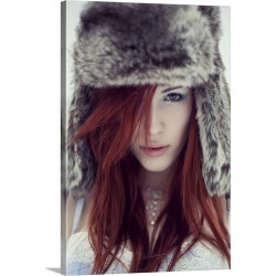 Large Solid-Faced Canvas Print Wall Art Print 20 x 30 entitled Girl with fur hat looking directly into camera with red hai...