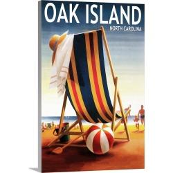Large Solid-Faced Canvas Print Wall Art Print 20 x 30 entitled Oak Island, North Carolina, Beach Chair and Ball