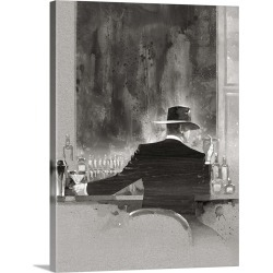 Large Solid-Faced Canvas Print Wall Art Print 30 x 40 entitled Cigar Bar Study