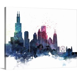 Large Gallery-Wrapped Canvas Wall Art Print 20 x 16 entitled Chicago Watercolor Cityscape II