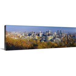 Large Gallery-Wrapped Canvas Wall Art Print 36 x 12 entitled Canada, Quebec, Montreal. Downtown Montreal