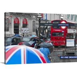 Large Solid-Faced Canvas Print Wall Art Print 30 x 20 entitled UK, England, London, Piccadilly Circus, Underground entrance