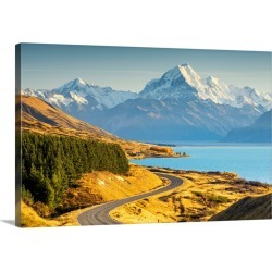 Large Solid-Faced Canvas Print Wall Art Print 30 x 20 entitled Mt. Cook And Lake Pukaki, Pete's Lookout, New Zealand