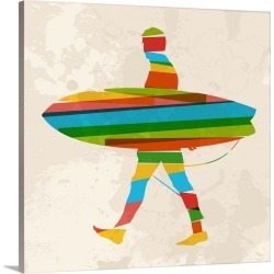 Large Solid-Faced Canvas Print Wall Art Print 20 x 20 entitled Multicolor Surfer