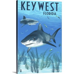 Large Gallery-Wrapped Canvas Wall Art Print 16 x 24 entitled Key West, Florida - Sharks : Retro Travel Poster