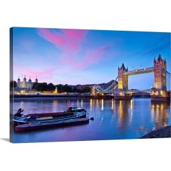 Large Solid-Faced Canvas Print Wall Art Print 30 x 20 entitled United Kingdom, UK, England, London, Tower bridge and Tower...