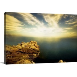Large Gallery-Wrapped Canvas Wall Art Print 24 x 16 entitled A rocky shore with calm water