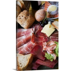 Large Gallery-Wrapped Canvas Wall Art Print 20 x 30 entitled Switzerland, Graubunden, mix of local salted meat and cheese