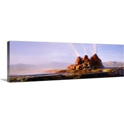 Large Solid-Faced Canvas Print Wall Art Print 48 x 16 entitled Geyser Black Rock Desert NV