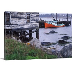 Large Gallery-Wrapped Canvas Wall Art Print 24 x 16 entitled Canada, Nova Scotia, Hunts Point. Lobster boats at dock in ha...