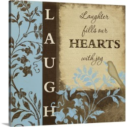 Large Gallery-Wrapped Canvas Wall Art Print 16 x 16 entitled Laugh