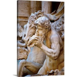 Large Gallery-Wrapped Canvas Wall Art Print 20 x 30 entitled Italy, Rome, Trevi Fountain, Tritons and Hippocampus Sculpture