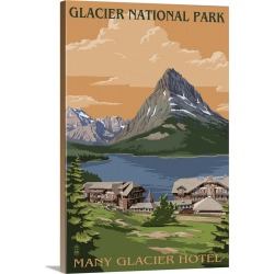 Large Gallery-Wrapped Canvas Wall Art Print 20 x 30 entitled Many Glacier Hotel, Glacier National Park, Montana