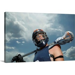 Large Gallery-Wrapped Canvas Wall Art Print 24 x 16 entitled Low angle view of lacrosse player found on Bargain Bro India from Great Big Canvas - Dynamic for $214.99