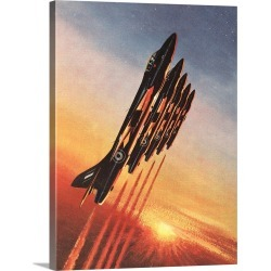 Large Solid-Faced Canvas Print Wall Art Print 30 x 40 entitled Hawker Hunter F6, The Black Arrows