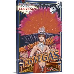 Large Solid-Faced Canvas Print Wall Art Print 20 x 30 entitled Las Vegas Casino Showgirl: Retro Travel Poster