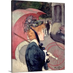Large Solid-Faced Canvas Print Wall Art Print 24 x 30 entitled Woman with an Umbrella, or The Walk, 1891