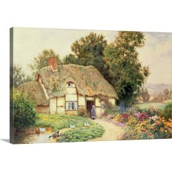 Large Solid-Faced Canvas Print Wall Art Print 30 x 20 entitled A Cottage by a Duck Pond