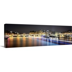 Large Solid-Faced Canvas Print Wall Art Print 48 x 16 entitled Pont des Arts - panoramic