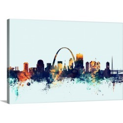 Large Solid-Faced Canvas Print Wall Art Print 30 x 20 entitled St Louis Missouri Skyline on Light Blue