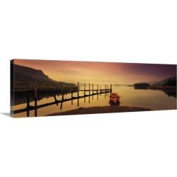 Large Solid-Faced Canvas Print Wall Art Print 48 x 16 entitled Derwent Lake Derbyshire UK