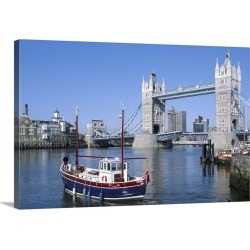 Large Solid-Faced Canvas Print Wall Art Print 30 x 20 entitled Bridge over River Thames, London, England