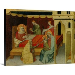 Large Solid-Faced Canvas Print Wall Art Print 40 x 30 entitled Nativity of St, John the Baptist, 14th c, Master of the Nat...