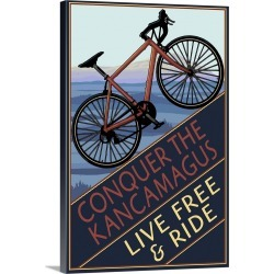 Large Gallery-Wrapped Canvas Wall Art Print 16 x 24 entitled Conquer the Kancamagus, New Hampshire - Mountain Bike: Retro ...